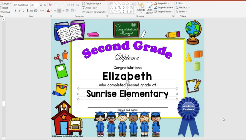 editable diplomas for elementary grades
