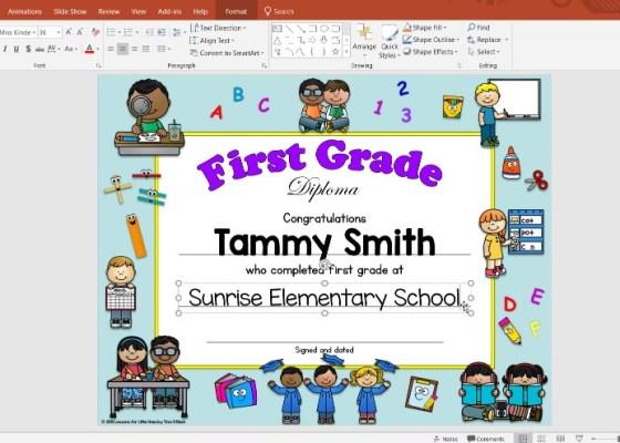 editable first grade diplomas