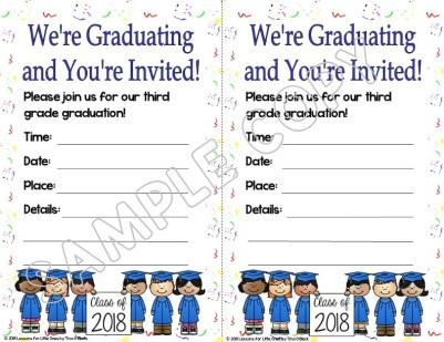 elementary graduation invitation white background