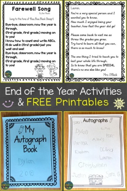 End of the Year Activities & Free Printables