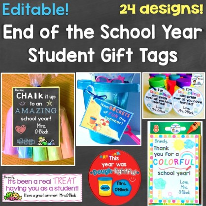 end of the year student gift tags
