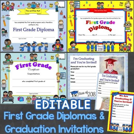 first grade diplomas editable