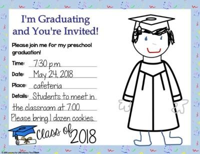 graduation invitation preschool editable