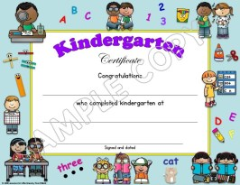kindergarten certificate of completion