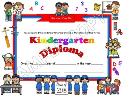 kindergarten diploma white background