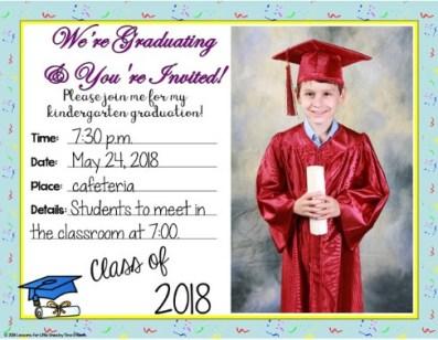 kindergarten graduation invitation student photo