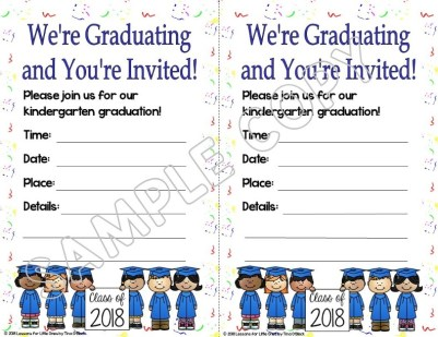 kindergarten graduation invitation white background