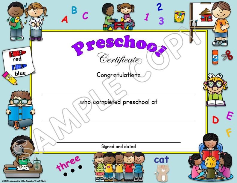 preschool pre k pre kindergarten diplomas certificates