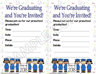 preschool graduation invitation white background