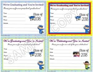 preschool graduation invitations announcements editable