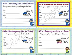 preschool graduation invitations announcements editable