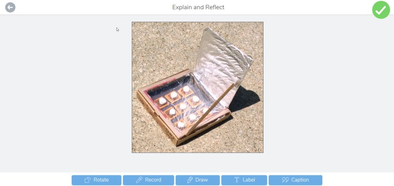 picture of solar oven science experiment in Seesaw app