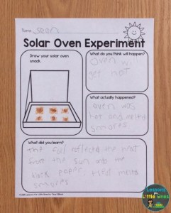 solar oven experiment page
