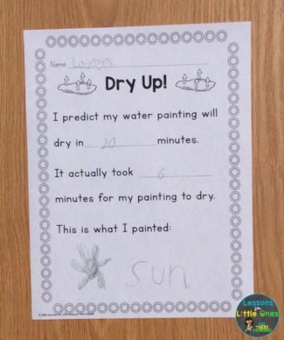 water evaporation recording sheet