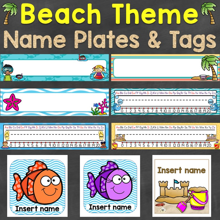 beach theme name plates name tags