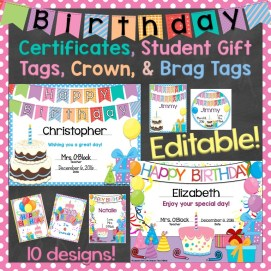 Birthday Certificates, Gift Tags, Crown, Brag Tags Editable