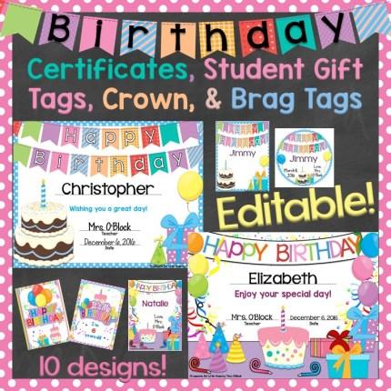 Birthday Certificates, Gift Tags, Crown, Brag Tags Editable