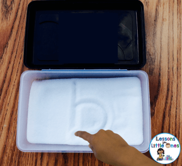 alphabet activities tracing letters salt tray