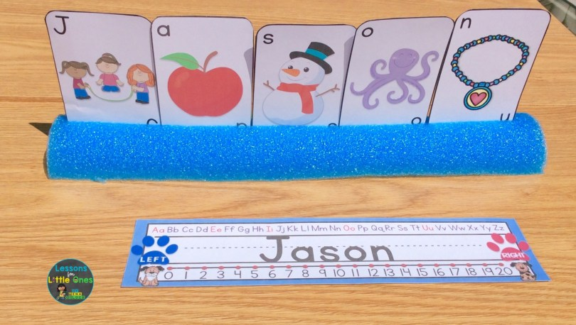 name recognition activity cards and pool noodle card holder