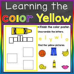 color recognition color word yellow Boom Cards free