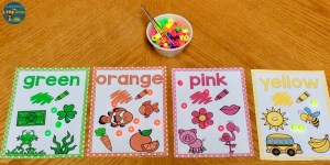 color sorting activity with pony beads & color posters