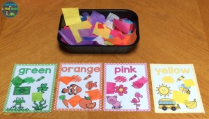 color sorting activity using paper and color posters
