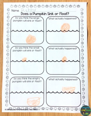 pumpkin sink or float page