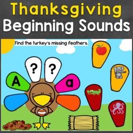 Thanksgiving Beginning Sounds Digital Boom Cards