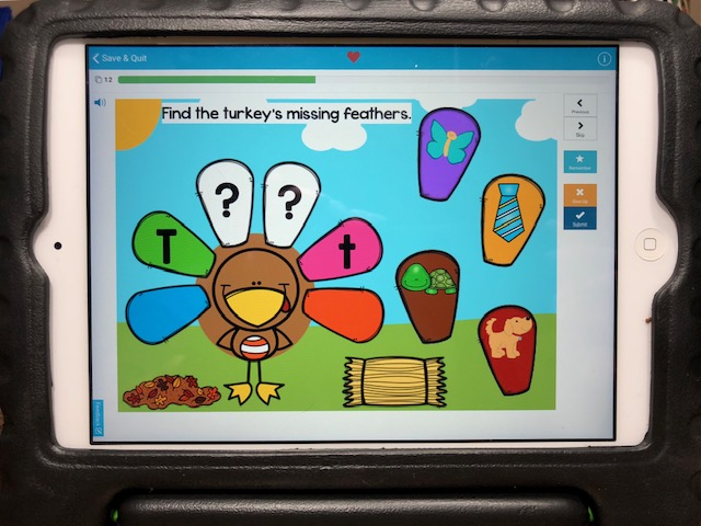 Thanksgiving letter sounds, beginning sounds practice