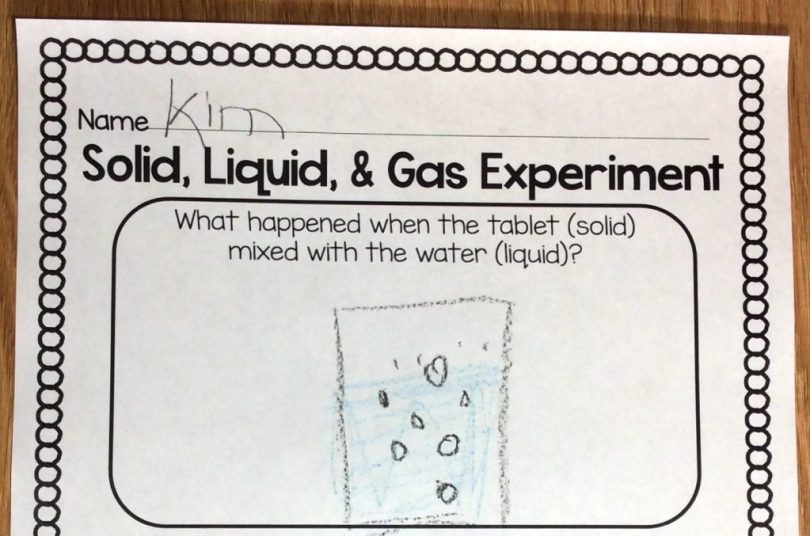 solid liquid gas science experiment free page