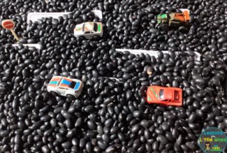racing, car themed sensory bin