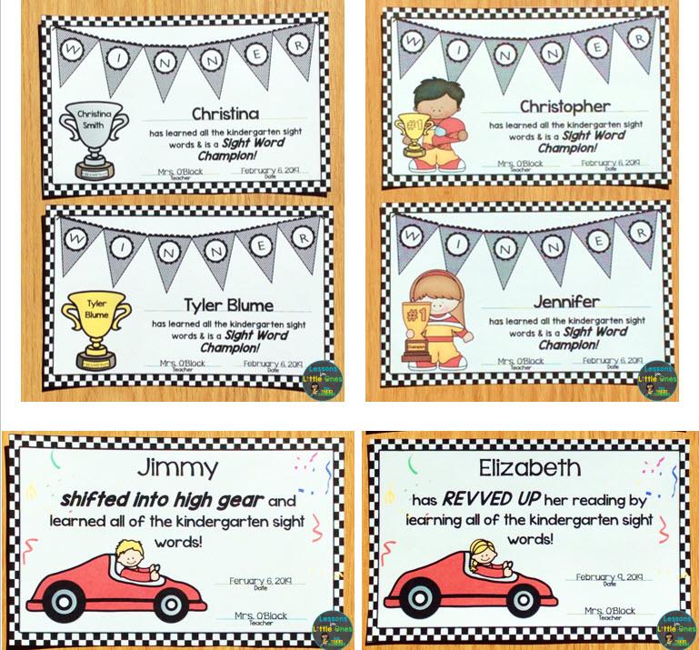 sight word award certificates