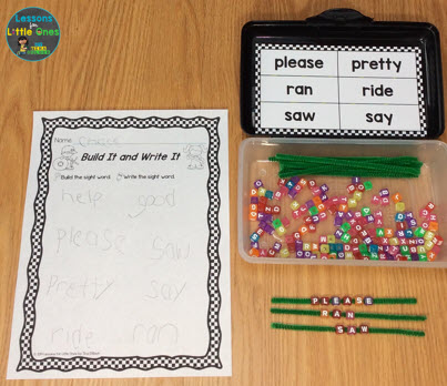 sight word practice center pipe cleaners, letter beads