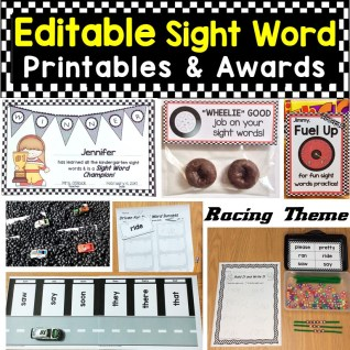 Editable Sight Word Printable Pages & Awards