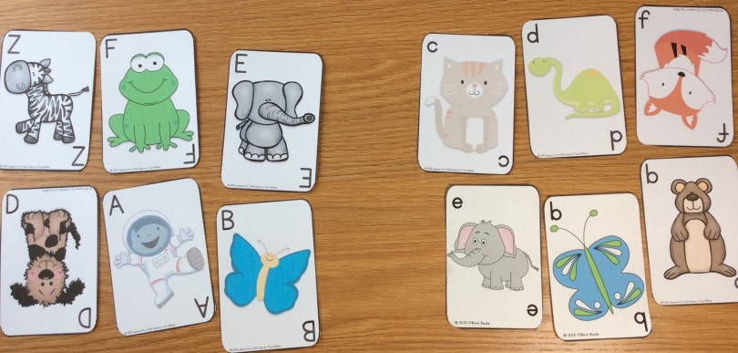 letter sorting activity with cards