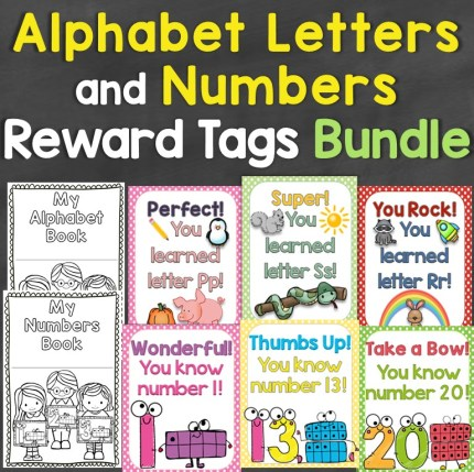alphabet numbers reward tags bundle