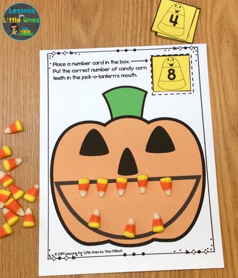 candy corn counting mat activity
