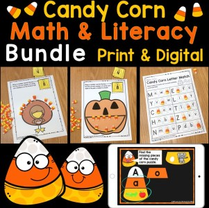 Candy Corn Math & Literacy Bundle Print & Digital