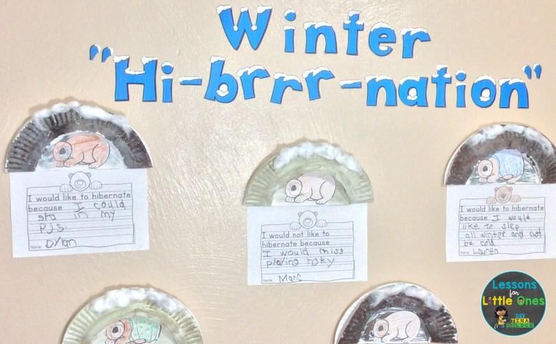 hibernation bulletin board, classroom display