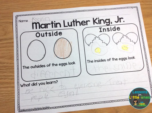 Free Martin Luther King Jr. egg activity page