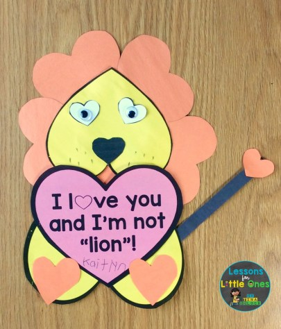 valentine card from student to parent lion