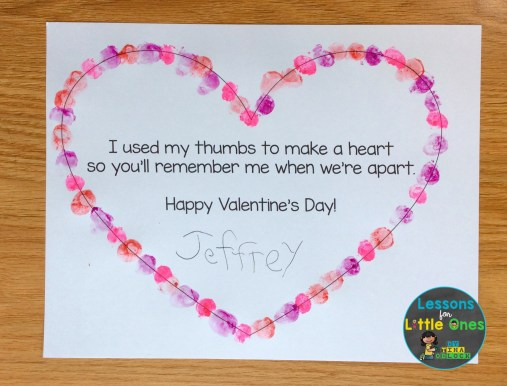 valentines day thumbprint heart craft