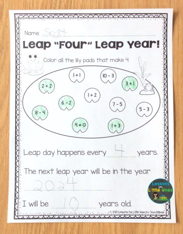 leap year math activity page
