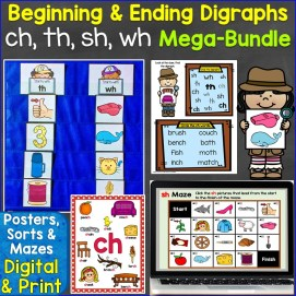 Beginning & Ending Digraphs ch, th, sh, wh Mega-Bundle