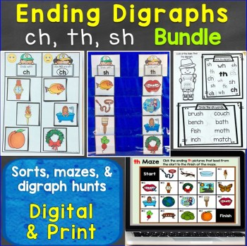 ending digraphs sh ch th bundle print digital