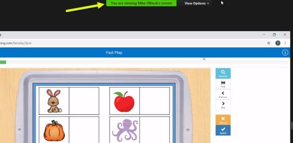 sharing Boom Cards, Google Slides in Zoom
