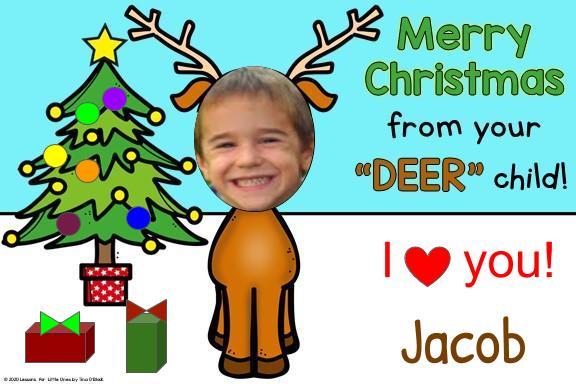 Christmas card with child's photo as reindeer