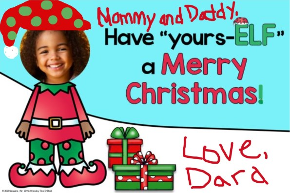 elf parent Christmas card with student picture