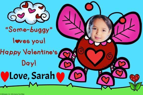 Love bug digital valentine card for Google Slides