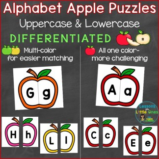 Alphabet Uppercase Lowercase Apple Puzzles